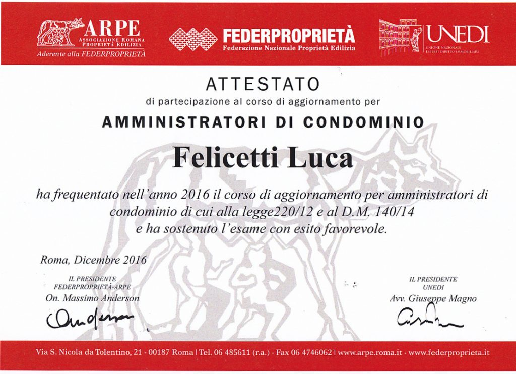 attestato amministratore condominio roma